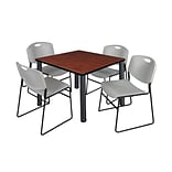 Regency Kee 42 Square Breakroom Table- Cherry/ Black & 4 Zeng Stack Chairs- Grey