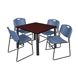 Regency Kee 42 Square Breakroom Table- Mahogany/ Black & 4 Zeng Stack Chairs- Blue