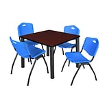 Regency Kee 42 Square Breakroom Table- Mahogany/ Black & 4 M Stack Chairs- Blue