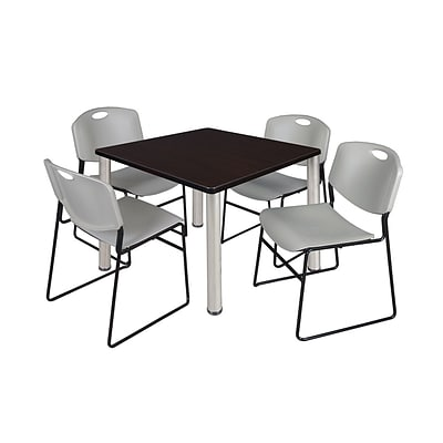 Regency Kee 42 Square Breakroom Table- Mocha Walnut/ Chrome & 4 Zeng Stack Chairs- Grey