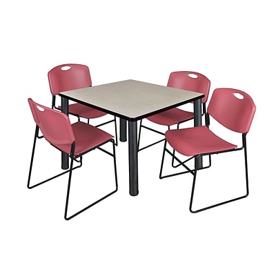 Regency Kee 42 Square Breakroom Table- Maple/ Black & 4 Zeng Stack Chairs- Burgundy