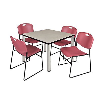 Regency Kee 42 Square Breakroom Table- Maple/ Chrome & 4 Zeng Stack Chairs- Burgundy