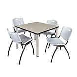 Regency Kee 42 Square Breakroom Table- Maple/ Chrome & 4 M Stack Chairs- Grey