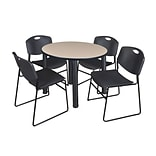 Regency Kee 42 Round Breakroom Table- Beige/ Black & 4 Zeng Stack Chairs- Black
