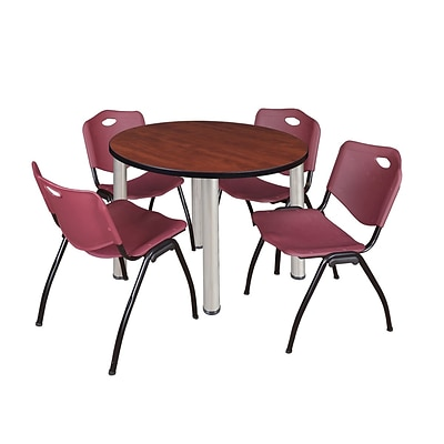 Regency Kee 42 Round Breakroom Table- Cherry/ Chrome & 4 M Stack Chairs- Burgundy