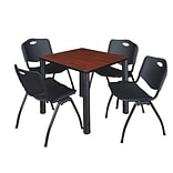 Regency Kee 30 Square Breakroom Table- Cherry/ Black & 4 M Stack Chairs- Black
