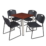 Regency Kee 30 Square Breakroom Table- Cherry/ Chrome & 4 Zeng Stack Chairs- Black