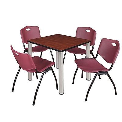 Regency Kee 30 Square Breakroom Table- Cherry/ Chrome & 4 M Stack Chairs- Burgundy