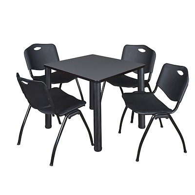 Regency Kee 30 Square Breakroom Table- Grey/ Black & 4 M Stack Chairs- Black