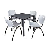 Regency Kee 30 Square Breakroom Table- Grey/ Black & 4 M Stack Chairs- Grey