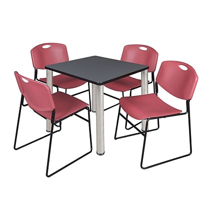 Regency Kee 30 Square Breakroom Table- Grey/ Chrome & 4 Zeng Stack Chairs- Burgundy