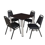 Regency Kee 30 Square Breakroom Table- Mocha Walnut/ Chrome & 4 Restaurant Stack Chairs- Black