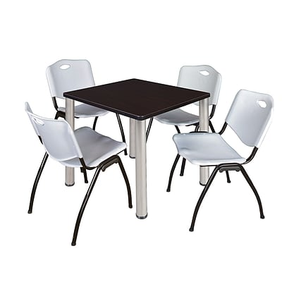 Regency Kee 30 Square Breakroom Table- Mocha Walnut/ Chrome & 4 M Stack Chairs- Grey