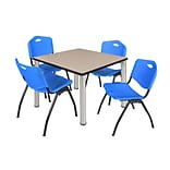 Regency Kee 36 Square Breakroom Table- Beige/ Chrome & 4 M Stack Chairs- Blue