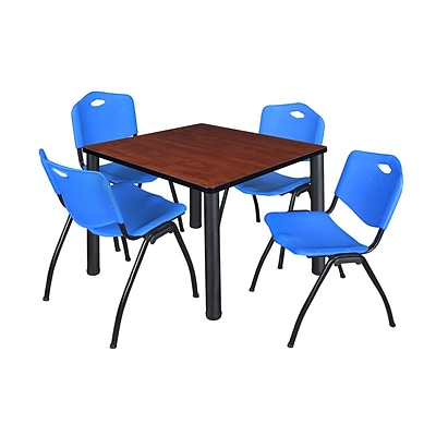 Regency Kee 36 Square Breakroom Table- Cherry/ Black & 4 M Stack Chairs- Blue