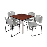 Regency Kee 36 Square Breakroom Table- Cherry/ Chrome & 4 Zeng Stack Chairs- Grey