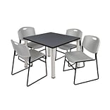 Regency Kee 36 Square Breakroom Table- Grey/ Chrome & 4 Zeng Stack Chairs- Grey