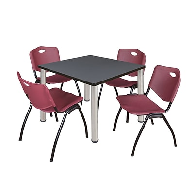 Regency Kee 36 Square Breakroom Table- Grey/ Chrome & 4 M Stack Chairs- Burgundy