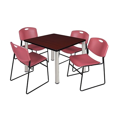 Regency Kee 36 Square Breakroom Table- Mahogany/ Chrome & 4 Zeng Stack Chairs- Burgundy