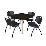 Regency Kee 36 Square Breakroom Table- Mocha Walnut/ Chrome & 4 M Stack Chairs- Black