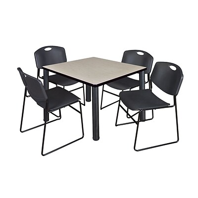 Regency Kee 36 Square Breakroom Table- Maple/ Black & 4 Zeng Stack Chairs- Black