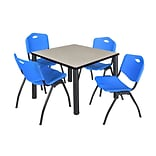 Regency Kee 36 Square Breakroom Table- Maple/ Black & 4 M Stack Chairs- Blue
