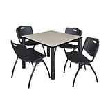 Regency Kee 36 Square Breakroom Table- Maple/ Black & 4 M Stack Chairs- Black