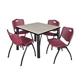 Regency Kee 36 Square Breakroom Table- Maple/ Black & 4 M Stack Chairs- Burgundy