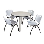 Regency Kee 48 Round Breakroom Table- Maple/ Chrome & 4 M Stack Chairs- Grey