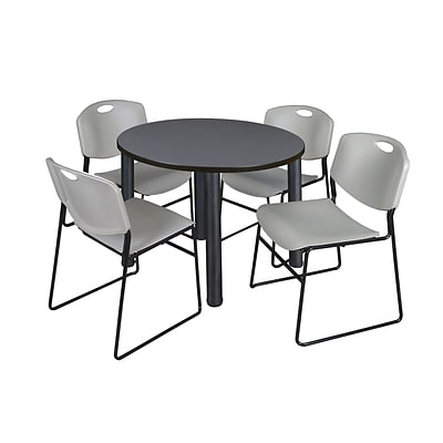 Regency Kee 42 Round Breakroom Table- Grey/ Black & 4 Zeng Stack Chairs- Grey