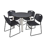 Regency Kee 42 Round Breakroom Table- Grey/ Chrome & 4 Zeng Stack Chairs- Black