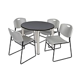 Regency Kee 42 Round Breakroom Table- Grey/ Chrome & 4 Zeng Stack Chairs- Grey