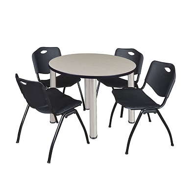 Regency Kee 42 Round Breakroom Table- Maple/ Chrome & 4 M Stack Chairs- Black