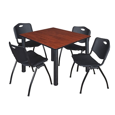 Regency Kee 48 Square Breakroom Table- Cherry/ Black & 4 M Stack Chairs- Black