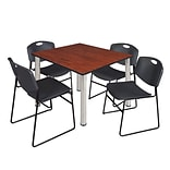 Regency Kee 48 Square Breakroom Table- Cherry/ Chrome & 4 Zeng Stack Chairs- Black