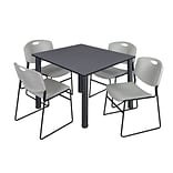 Regency Kee 48 Square Breakroom Table- Grey/ Black & 4 Zeng Stack Chairs- Grey