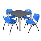 Regency Kee 48 Square Breakroom Table- Grey/ Chrome & 4 M Stack Chairs- Blue