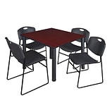 Regency Kee 48 Square Breakroom Table- Mahogany/ Black & 4 Zeng Stack Chairs- Black