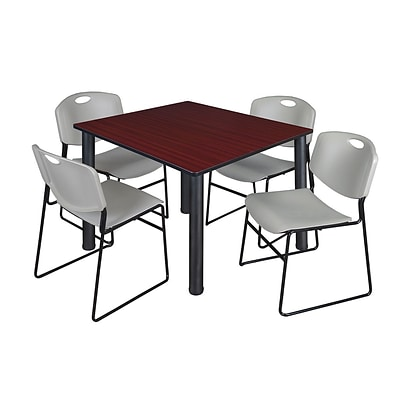 Regency Kee 48 Square Breakroom Table- Mahogany/ Black & 4 Zeng Stack Chairs- Grey