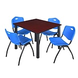 Regency Kee 48 Square Breakroom Table- Mahogany/ Black & 4 M Stack Chairs- Blue