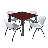 Regency Kee 48 Square Breakroom Table- Mahogany/ Black & 4 M Stack Chairs- Grey