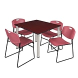 Regency Kee 48 Square Breakroom Table- Mahogany/ Chrome & 4 Zeng Stack Chairs- Burgundy