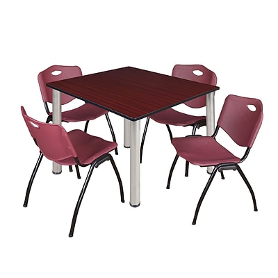 Regency Kee 48 Square Breakroom Table- Mahogany/ Chrome & 4 M Stack Chairs- Burgundy
