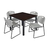 Regency Kee 48 Square Breakroom Table- Mocha Walnut/ Black & 4 Zeng Stack Chairs- Grey