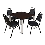Regency Kee 48 Square Breakroom Table- Mocha Walnut/ Chrome & 4 Restaurant Stack Chairs- Black