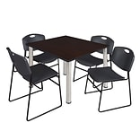 Regency Kee 48 Square Breakroom Table- Mocha Walnut/ Chrome & 4 Zeng Stack Chairs- Black