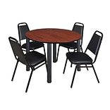 Regency Kee 48 Round Breakroom Table- Cherry/ Black & 4 Restaurant Stack Chairs- Black