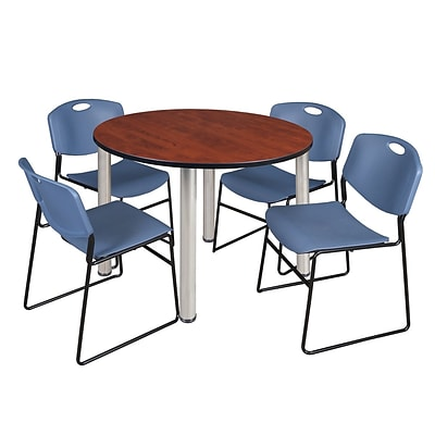 Regency Kee 48 Round Breakroom Table- Cherry/ Chrome & 4 Zeng Stack Chairs- Blue