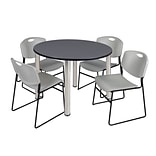 Regency Kee 48 Round Breakroom Table- Grey/ Chrome & 4 Zeng Stack Chairs- Grey