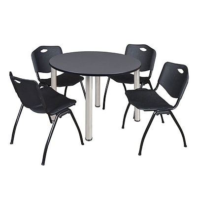 Regency Kee 48 Round Breakroom Table- Grey/ Chrome & 4 M Stack Chairs- Black